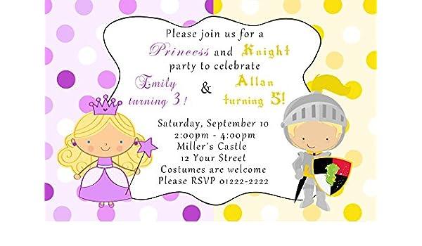 30 invitaciones Princesas Knight niños fiesta de cumpleaños ...