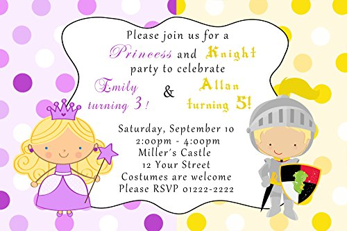 30 Invitations Princess Knight Birthday Personalized Cards Photo Paper