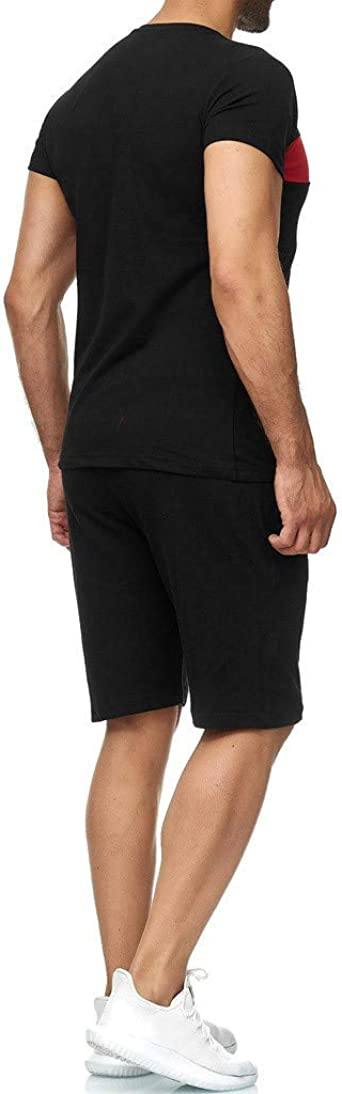 Zantt Men Beachwear Casual Linen Color Block Summer Elastic Waist Shorts