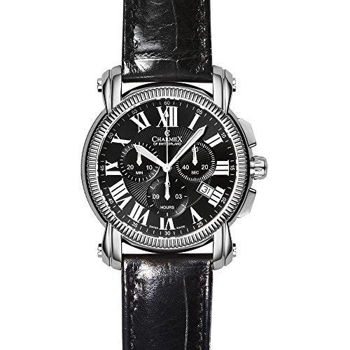 Charmex Aspen 2451 42mm Stainless Steel Case Black Calfskin Synthetic Sapphire Men's Watch