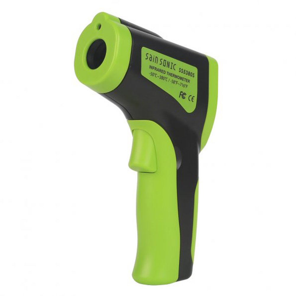 SainSonic 2016 NEW SS5380S Infrared Thermometer Temperature Gun, Laser Pointing, Accurate Reading, Measures in Celsius or Fahrenheit, Green