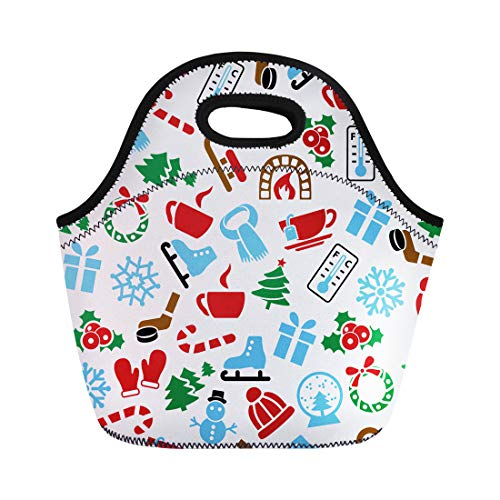Semtomn Neoprene Lunch Tote Bag Advent Winter Candy Cap Celebrate Christmas Coffee Cold December Reusable Cooler Bags Insulated Thermal Picnic Handbag for Travel,School,Outdoors,Work