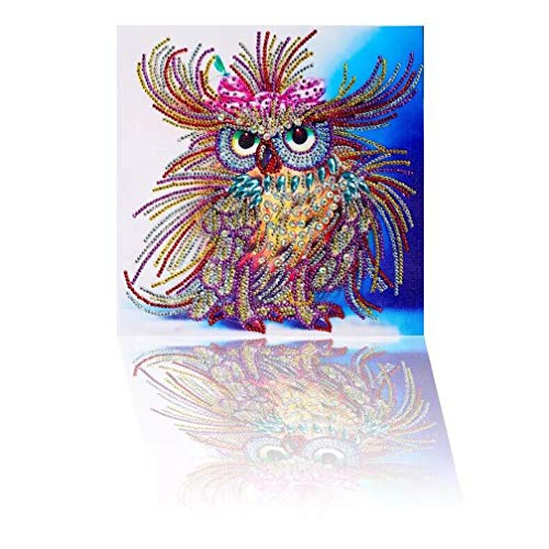 Diamond Painting Owl Handmade DIY Shaped Craft Round Diamond Drawing Living Room Bedroom Embroidered Cross Embroidery Wall Decorative Picture Ornament by Yobeyi