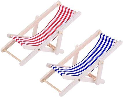 Amaoma Miniature Chaise Longue Pliable Chaise de Plage Chaises Jardin Bois Mini Transat de Plage Maison Miniature Accessoires pour 112 Maison de