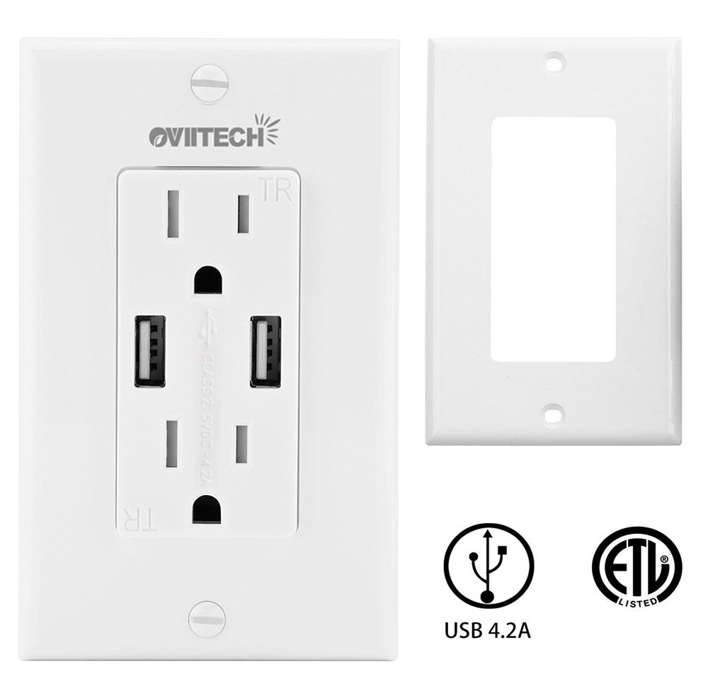 USB Outlet-OviiTech 4.2 AMP Smart High Speed Wall Mount USB Charger Outlet,  Tamper Resistant Receptacle, 2 Pack Wall Plate/ETL Listed/White - -  Amazon.com