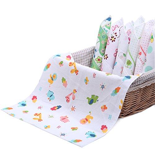 NISSCO 10 Pcs 100% Cotton Baby Handkerchief Gauze Muslin Square Baby Square