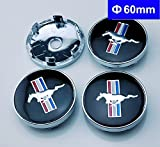 4pcs W199 60mm Car Emblem Badge Wheel Hub Caps Centre Cover Black Ford Mustang Cobra Jet Shelby
