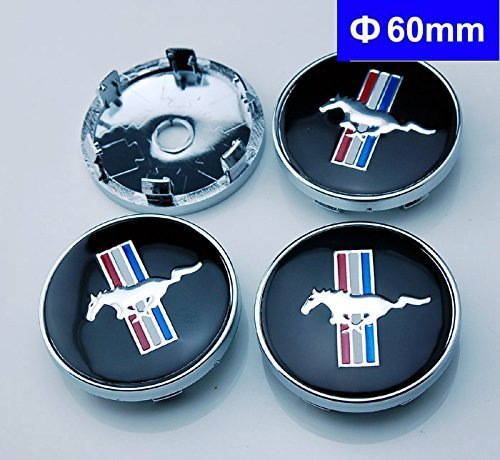 BENZEE 4pcs W199 60mm Car Emblem Badge Wheel Hub Caps Centre Cover Black Ford Mustang Cobra Jet Shelby