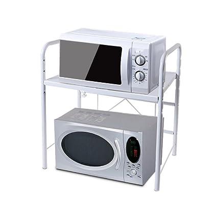 Estante de cocina de 2 niveles extensible Estante de microondas blanco Estante de cocina Parrilla de