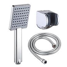 KES LP130B Bathroom Lavatory Single Function Handheld Shower Head with Hose and Bracket Modern Square, Polished Chrome