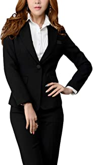 MFrannie Womens Office Fitted One Button Lined Blazer and Pants Suit Set Black