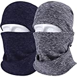 JIUSY 2 Pack - Thick Fleece Balaclava Neck Warmer Hood Cover Face Mask Windproof Wind Dust Protection for Ski Snowboard Hunting Hiking Walker Camping Cycling Cold Weather Winter Gear Gray Royal Blue