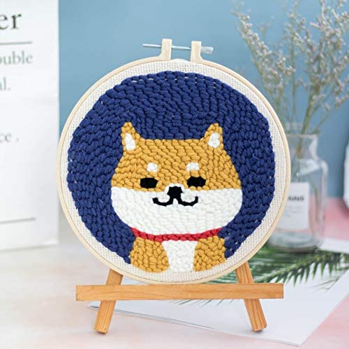3 Pack Needlepoint Craft Kits Including Embroidery Cloth with Floral Pattern Embroidery Kit Cross Stitch Kits Punch Needle for Beginners Adults Color Threads and Tools Plastic Embroidery Hoop