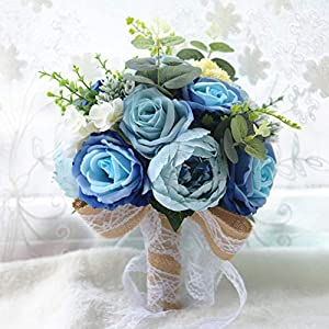 ZTXY Bridal Bouquet Wedding Decoration Supplies Blue Artificial Fake Rose Flower Bridesmaid Bouquets for Wedding Photo Shooting Party Home Decoration Flora 18