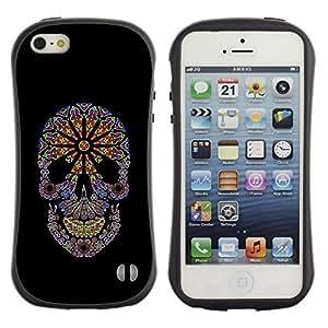 LASTONE PHONE CASE / Suave Silicona Caso Carcasa de Caucho Funda para Apple Iphone 5 / 5S / Floral Hippie Skull Death Black Spring
