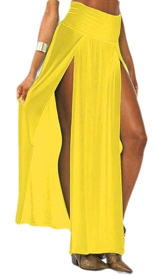 Falda Larga de Cintura Alta para Mujer con Doble Vuelo, Sexy ...