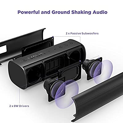 Bluetooth Speakers VAVA Voom 20 Portable Wireless Speaker with Dual 8W Drivers & 2 Passive Subwoofers (IPX5 Splash Proof, Power Bank Slot for Phones Charging, AptX)