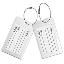 Luggage Tags, Pack of 2 Aluminum Metal Travel ID Tag Business Card Holder Name Address Identifier Labels Suitcase Label with Steel Cable for Baggage Bag, Sliver A0033