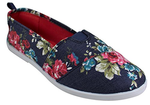Walk on Denim for Canvas A Women Take Floral Slip Navy x7PS4I