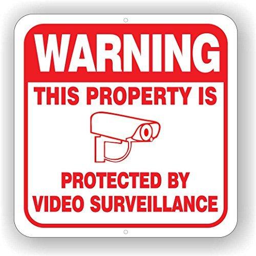Cámara de vigilancia signo 30,5x 30,5cm signo de aluminio (Blanco), color blanco