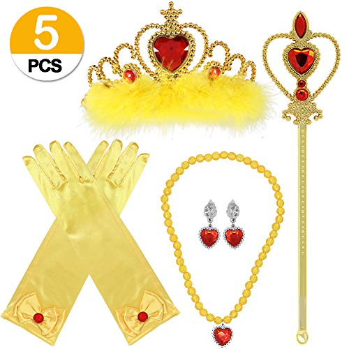 ACEHOOD Princess Dress up 5 Pcs Crown Scepter Necklace Earrings Gloves Princess Party Favors Belle Costume Accessories for Girls -
