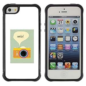 Híbridos estuche rígido plástico de protección con soporte para el Apple iPhone 5 / 5S - camera smile photographer poster vignette