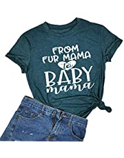 YUYUEYUE from Fur Mama to Baby Mama T Shirt Women Pregnancy Announcement Shirt Letter Print Cute Top Blouse