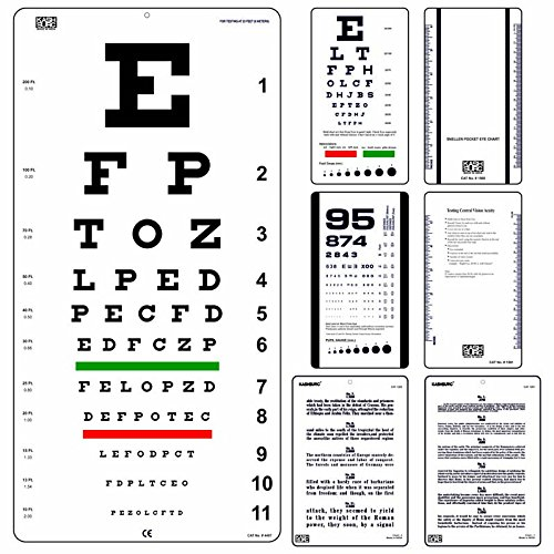 20' Eye Chart (Snellen Eye Chart 20 Feet with Snellen Pocket, Rosenbaum Pocket & Jaeger Eye Charts (Pack of 4))