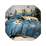 What Size Is a European King Mattress HANBINGPO 600TC Egyptian Cotton Pink Green Girls Luxury Bedding Sets Cute Embroidery Bed Set Soft bedLinen Quilt/Duvet Cover Bed Sheet,Bedding Set 1,Queen Size 4pcs,Fitted Sheet Style