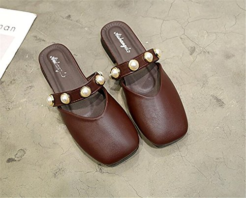 Slippers Ladies Fashion Casual Sandals Slides Women Mules Brown Shoes Low Footwear Heels Shoes Summer pit4tk nzpWZSW1