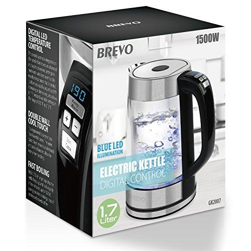 BREVO Double Wall Temperature Electric 1.7L Boiling Auto Shutoff Protection Tea Brewing