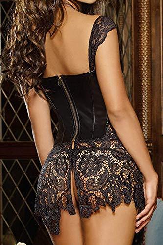 Hey ~ Yo Femmes Faux Cuir Corsage Robe Corset Plus La Taille Noir Corsage Robe Club Vêtements Corset Goth Bustier …