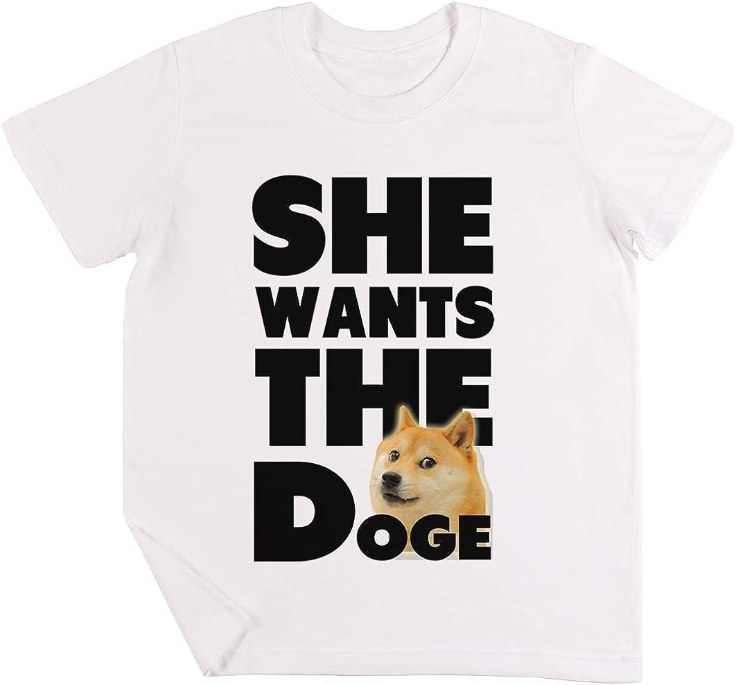 She Wants The Doge Niños Chicos Chicas Unisexo Camiseta Blanco: Amazon.es: Ropa y accesorios