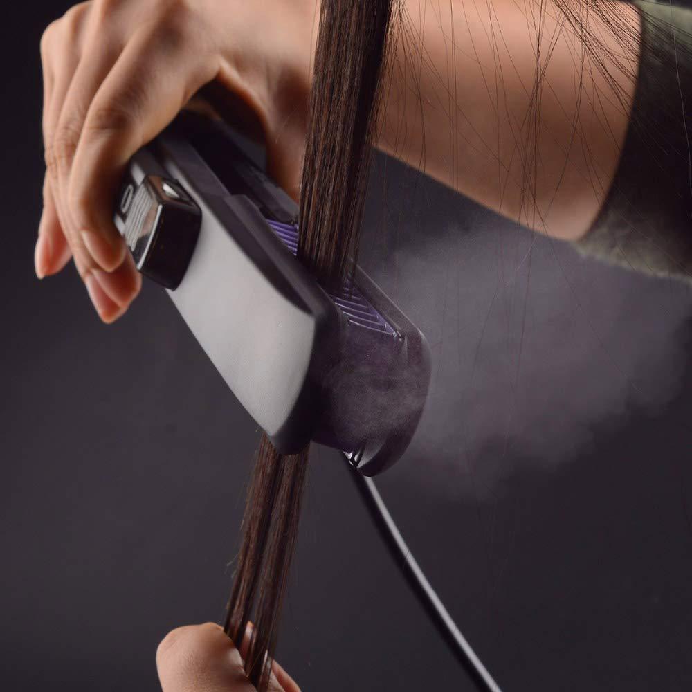 Steam Ionic Hair Straightener Brush,Professional Ultrasonic Portable Hair Straightening Brush Straighten Flat Iron with Steamer Dual Voltage Straightening Comb PTC Faster Heating Support Style B