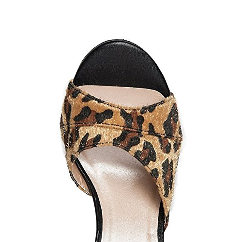 Casual Faux 15 Size On 4 Heel Suede FSJ Sandals US Slip Peep Leopard Shoes Slide Mules Toe Women High vwq6a165B