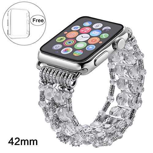 Pintaik for Apple Watch Band 38mm 42mm, 2018 New Fashion Crystal Beaded Elastic Bracelet Women Girl Bands and Case for Iwatch Series 3/2/1 Luxury Bling Watch Strap and Case Gift Idea from Pintaik