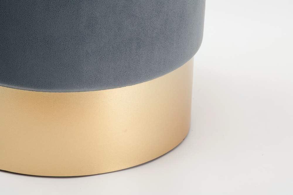 Grigio Carico Max Dipamkar/® Set di 2 Sgabello di stoccaggio Sgabello in Velluto Pouf Contenitore in Velluto con Base Dorata 200 kg