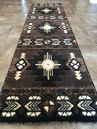 Southwest Native American Runner Area Rug Chocolate Design C318 (2 Feet X 7 Feet )