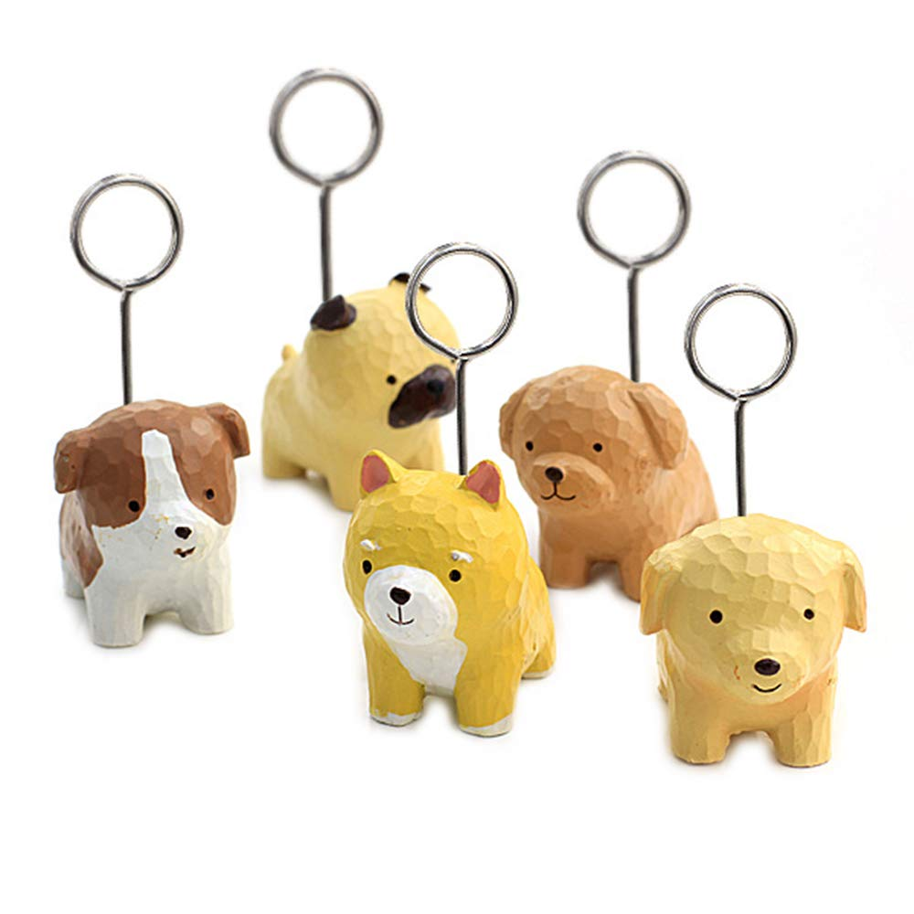 11Pcs Mini Cute Dog Memo Clip Holder Display Table Number Stand for Cards Notes Photos Pictures Placecards Home Office- Resin Base and Metal Wire Loop (Mixed Styles)