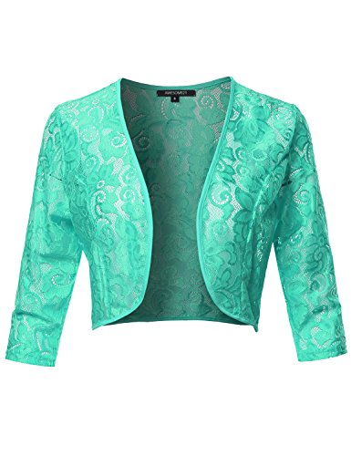 Awesome21 3/4 Sleeve Floral Lace Shrug Bolero Cardigan Top - Made in USA Mint ()