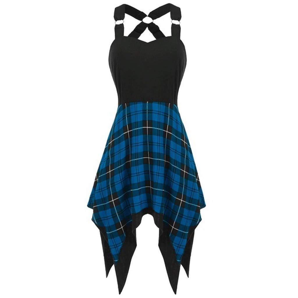 Serzul Women Summer Plaid Print Patchwork Irregular Strap Dress Sleeveless Cross Lace Up Beach Party Dresses