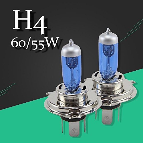 2 PCS 12V 60/55W H4 P43t Halogen Lamp 6500K Car Halogen Bulb Xenon Dark Blue Glass Super White High Wattage Bulb Off Road Use