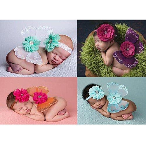 Tocado del ala de la mariposa del bebé Objetos fotográficos de la decoración hermosa , orange , headgear + wing 0-6 months