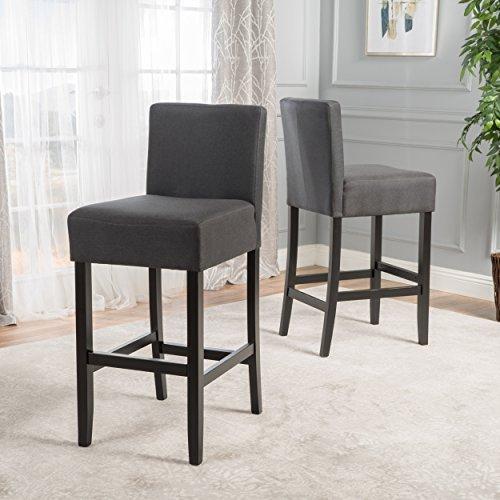 Prim Backed Fabric Barstools (Set of 2) (Dark Charcoal)