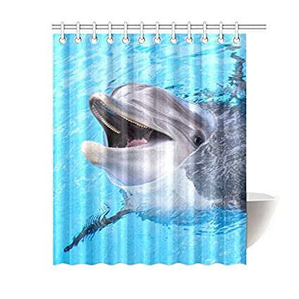 Amazon Happy More Custom Dolphin Bathroom Waterproof Fabric