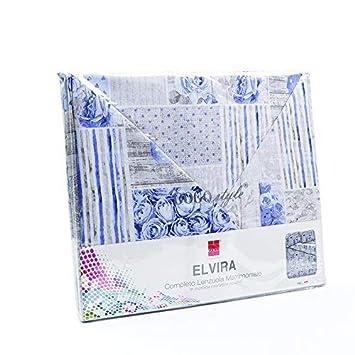 GOGOSTYLE Elvira Misura: 2 piazze Completo Letto Stampato in Morbida Microfibra Variante: Blu Disegno: Denim
