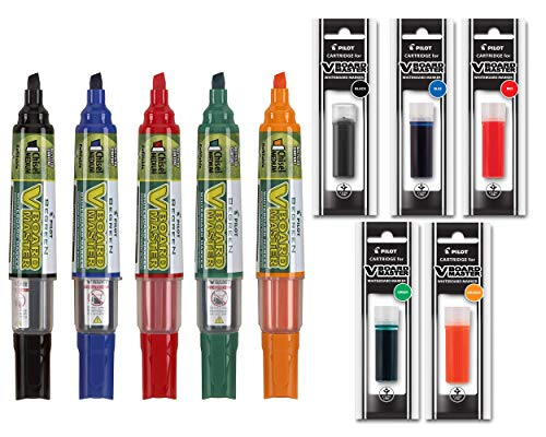 Refillable Dry Erase Markers, Pilot BeGreen V Board Master Assorted Colors, 5-Pack With 1 Refill For Each Marker