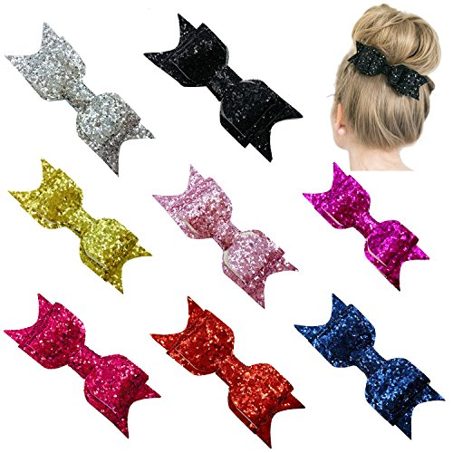 Kids Toddler Baby Girl Bow Hair Clips (8 Pcs Pack #4) (Black Glitter Bow)