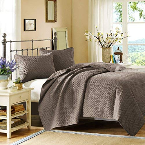 Hill Quilted Sham - Hampton Hill Velvet Touch Coverlet Set, King, Taupe