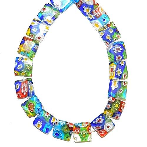 Mosaic Multi-Color Flower 10mm Flat Square Millefiori Glass Beads 15